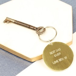 Personalised Father's Day Round Brass Keyring