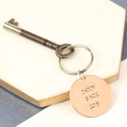 Personalised Father's Day Small Round Copper Keyring