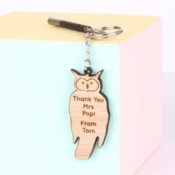 Personalised 'Thank You Teacher' Wooden Owl Keyring
