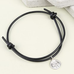 Men's Engraved St Christopher Leather Bracelet in Black