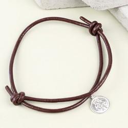 Men's Engraved St Christopher Leather Bracelet in Dark Brown