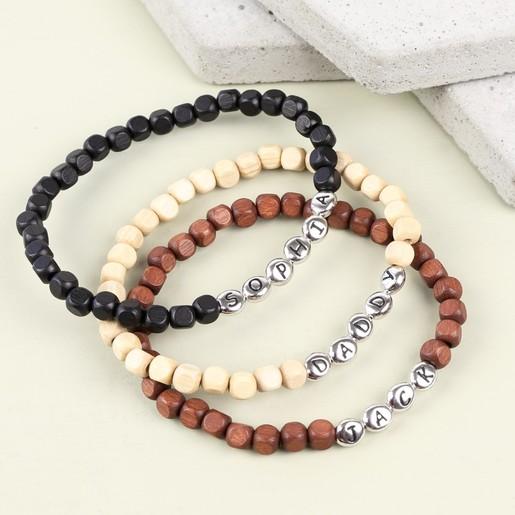 Personalised Wooden Bead Bracelet Handmade Lisa Angel
