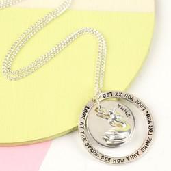Personalised Sterling Silver Eternity Hoop and Crowned Swan Necklace
