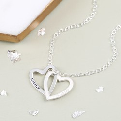 Personalised Sterling Silver Interlocking Hearts Necklace