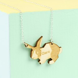 Personalised Wooden Rabbit Necklace