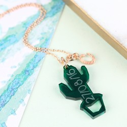 Personalised Acrylic Cactus Necklace