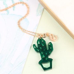 Personalised Acrylic Cut Out Cactus Necklace