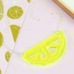 Personalised Acrylic Lemon Slice Necklace