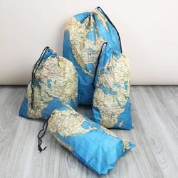 Kikkerland Set of 4 Map Travel Bags