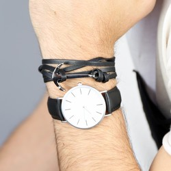 Men's Adjustable Black Leather Bracelet with Stainless Steel Anchor Clasp