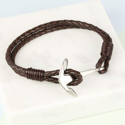 Men's Braided Brown Leather Bracelet with Matt Anchor Clasp