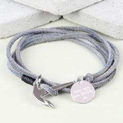 Men's Grey Cord Wrap Bracelet with Anchor Clasp Charm