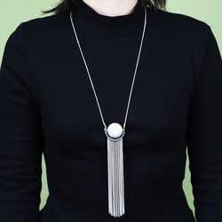 Long Marble Ball and Tassel Necklace in Silver