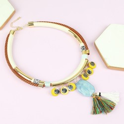 Statement Collar Necklace with Beads and Tassels