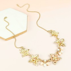 Statement Crystal Flowers Necklace in Gold