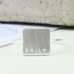 Personalised Brushed Silver Square Ring