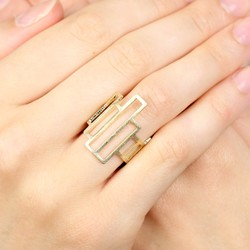 Adjustable Geometric Ring in Gold