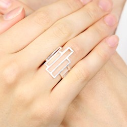 Adjustable Geometric Ring in Silver