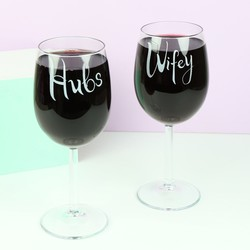 Engraved Hubs and Wifey Wine Glasses