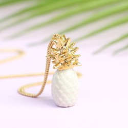 And Mary White and Gold Porcelain Pineapple Necklace
