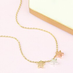 Orelia Three Little Stars Necklace in Mixed Metal