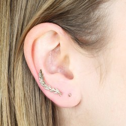 Orelia Gold Leaf Ear Cuff and Stud Earring