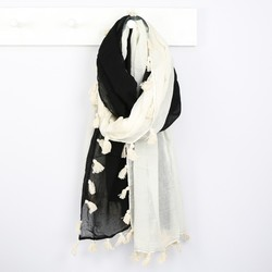 Dip Dye Cotton Scarf with Tassels