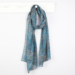 Peacock Feather Print Skinny Scarf