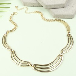 Short Minimal Gold Statement Necklace
