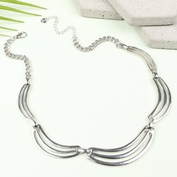 Short Minimal Silver Statement Necklace