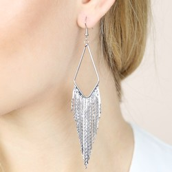 Silver Waterfall Statement Earrings