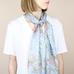 Pastel Paisley and Floral Print Silk Scarf
