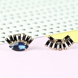 Winking Eye Gem Stud Earrings