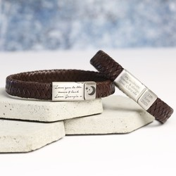 Men's Brown Leather Bracelet Engraved with Your Handwriting - Brushed