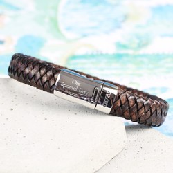 Men's Engraved Leather Bracelet with Double Sided Clasp