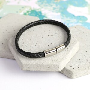 Men's Black Woven Bracelet with Shiny Clasp - Large