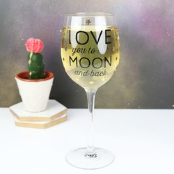 'To The Moon and Back' Wine Glass