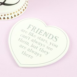 'Friends are Like Stars' Wooden Heart Coaster