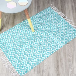 Geometric Rug in White and Teal