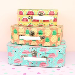 Set of 3 Tropical Suitcases