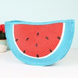 South Beach Straw Watermelon Clutch