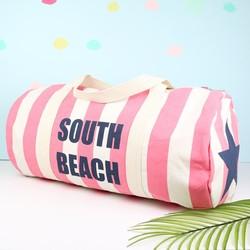 South Beach Striped Pink Canvas Duffel Bag
