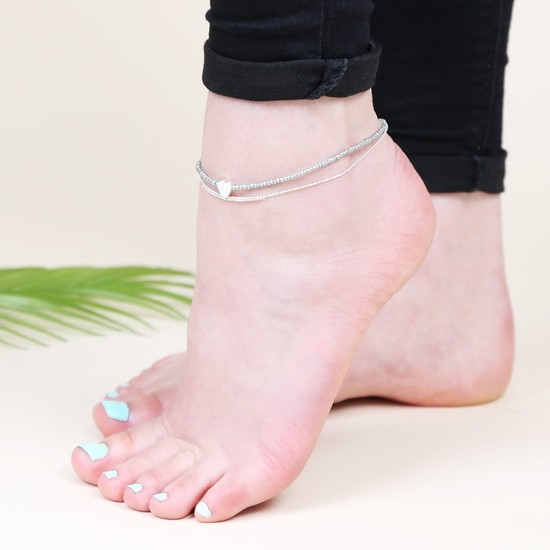 Silver and Grey Beaded Anklet