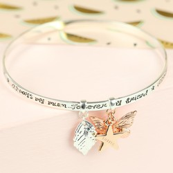 Silver 'Always My Mum' Charm Bangle with Name