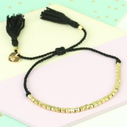 Delicate Matt Gold Faceted Bead Bracelet in Black