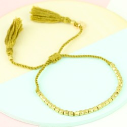 Delicate Matt Gold Faceted Bead Bracelet in Mustard