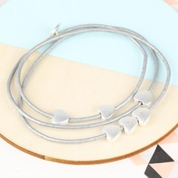 Personalised Grey Leather Cord and Heart Bead Bracelet