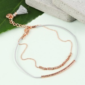 Leather and Ball Chain Curved Bar Tassel Bracelet In Rose Gold