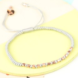 Matt Rose Gold Faceted Bead & Knot Bracelet in Grey
