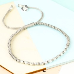 Matt Silver Faceted Bead & Knot Bracelet in Grey